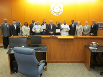picture of OTB program graduates with Bowie City Councilmembers