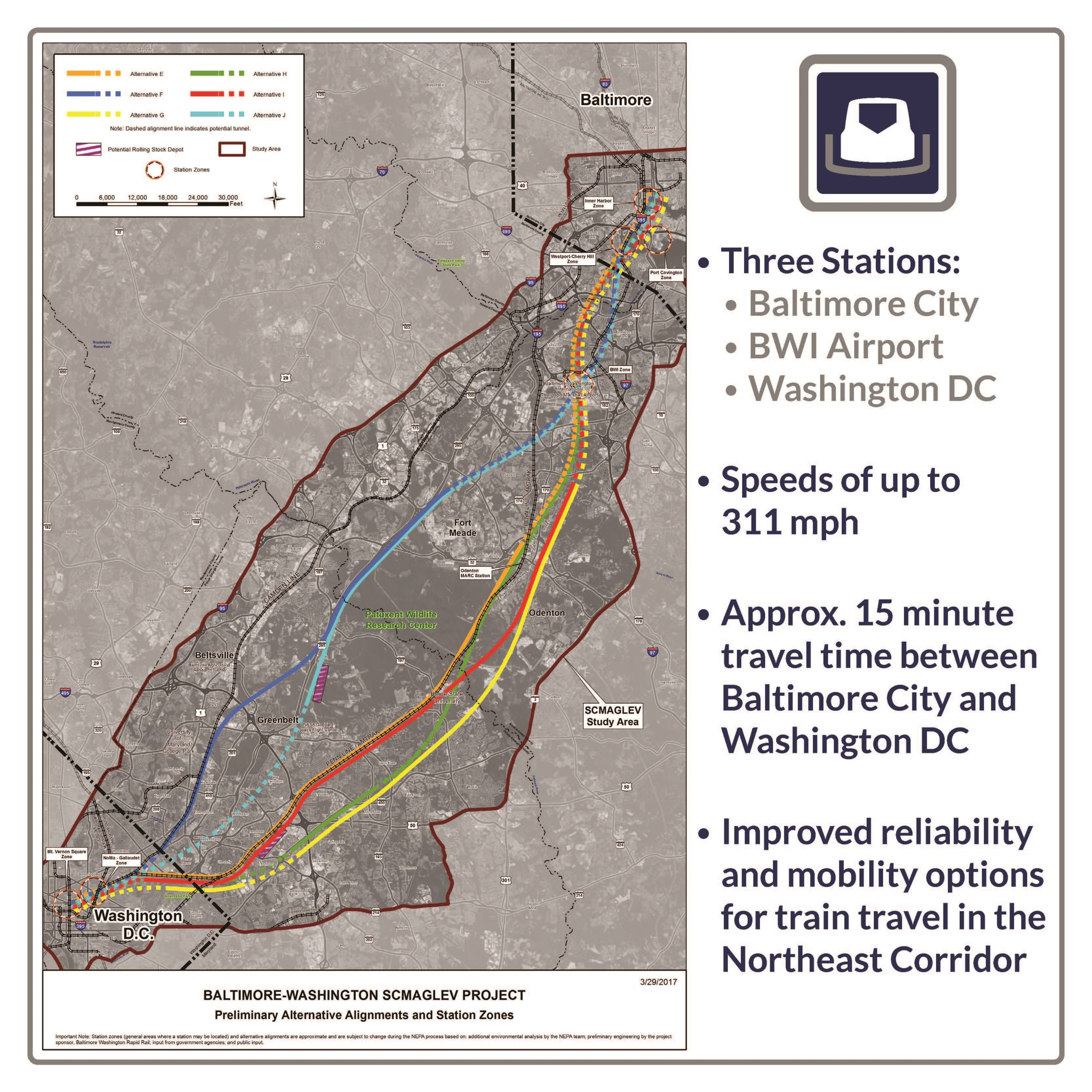 MAGLEV High Speed Train Bowie MD Official Website - Washington dc baltimore map