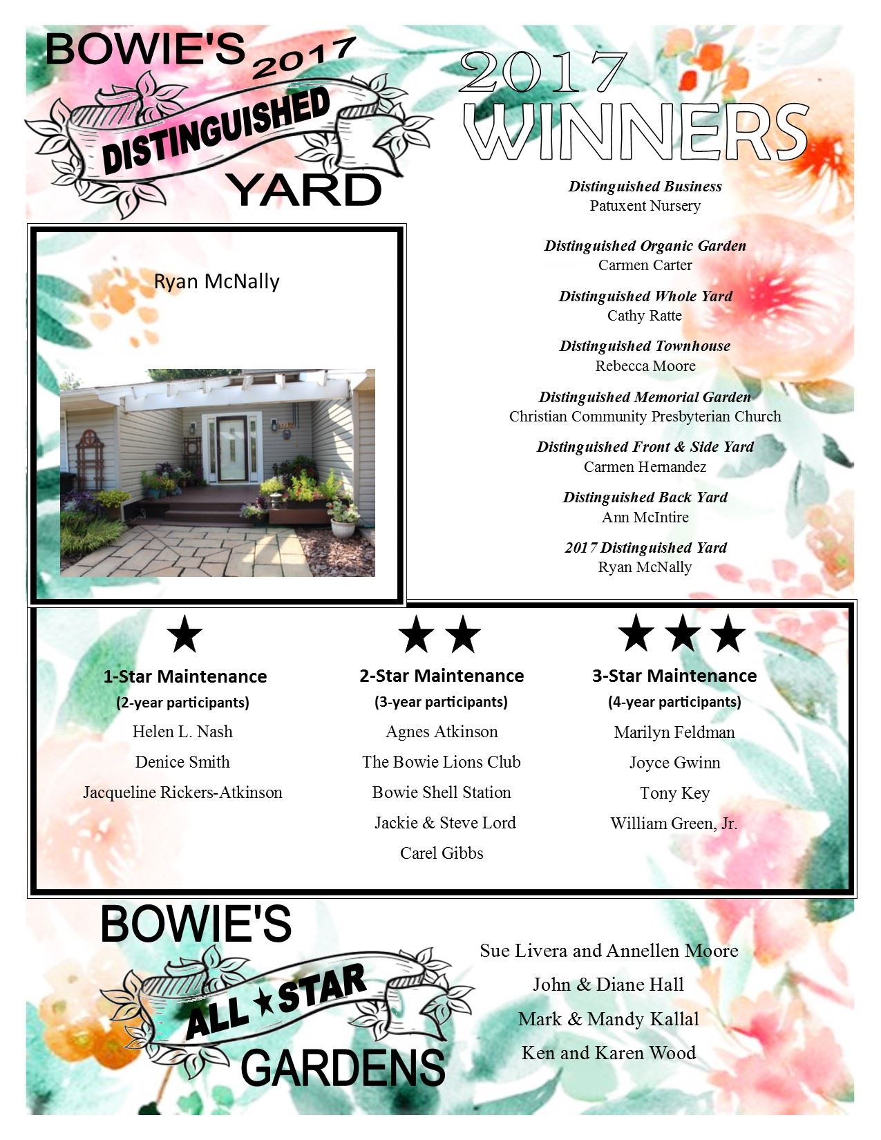 2017 Beautification Award Winners Flyer