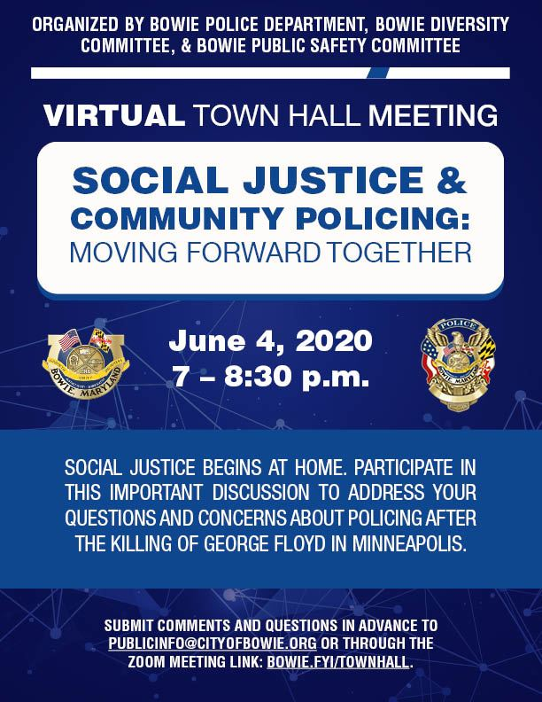 Virtual Police Town Hall Flyer - June 4, 7 pm